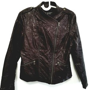 GUC Guess faux leather biker jacket brown